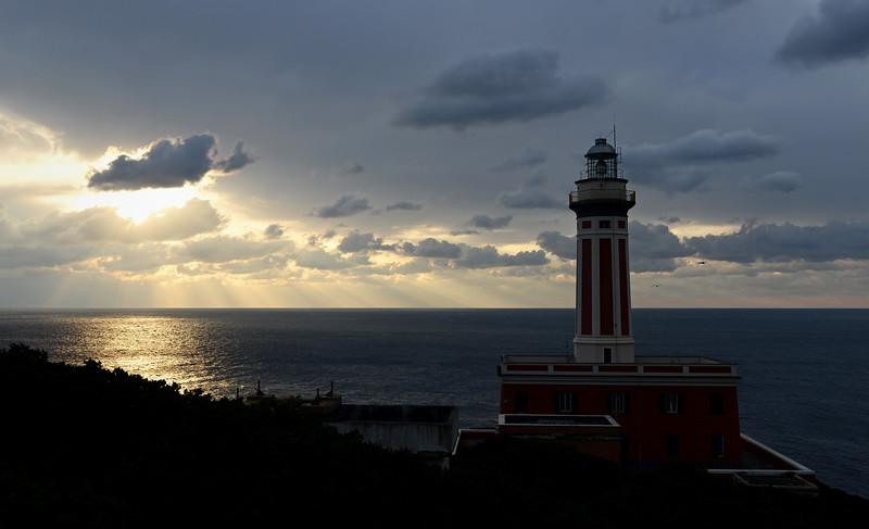 Faro di Punta Carena on the southwest tip of Capri island, Italy