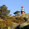 Dune top lighthouse on the island of Vlieland, The Netherlands