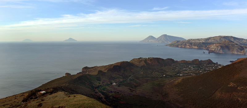 Vulcano island's old caldera, with the islands of Lipari, Salina, Filicudi and Alicudi in the background