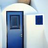 Entrance to Cycladic-style house on Santorini, Greece