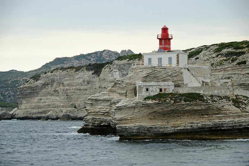 Lighthouse at entrance to Bonifacio harbour, southern Corsica, France