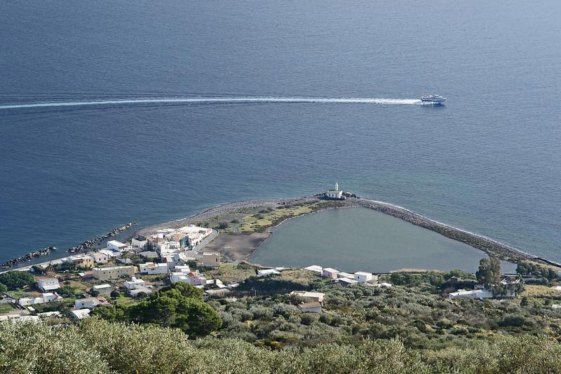 Village and lagoon of Lingua on Salina, Eolian Islands, Italy