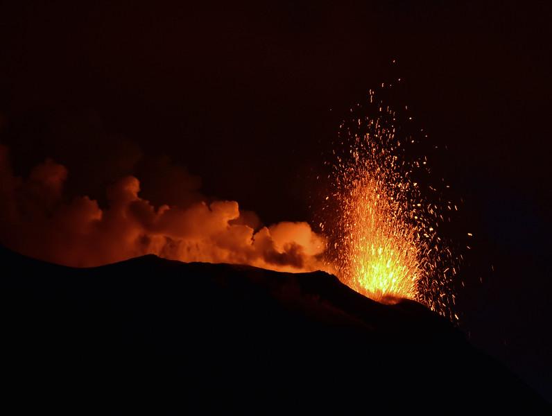 Lava fountain from minor vent at the summit of the Stromboli volcano, Italy
