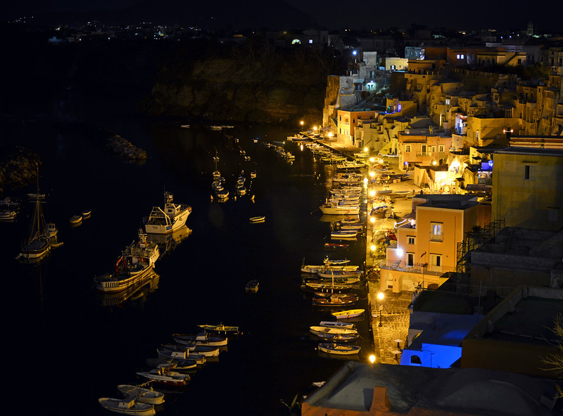 Nighttime at Corricella on Procida, Italy