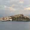 Bay of Naples (Italy), with the village of Corricella and the Castello d'Avalos on Procida, and Capo Miseno in the background