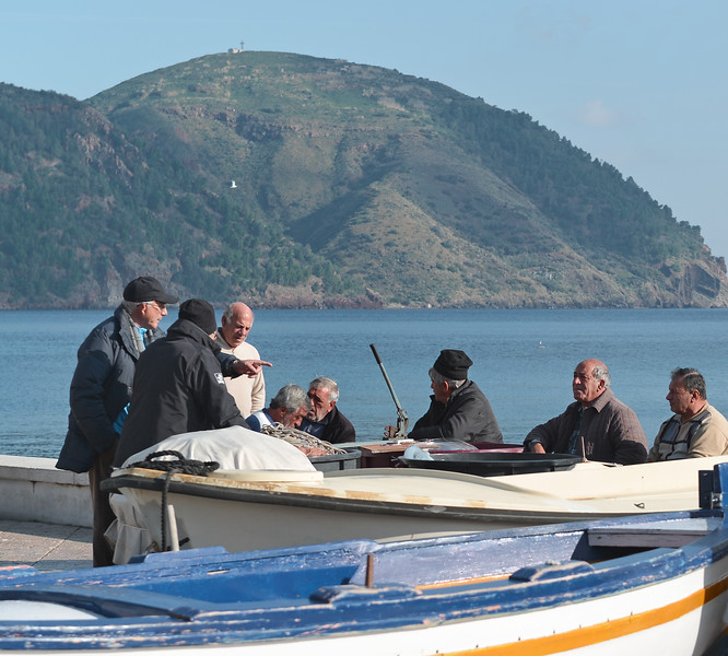 Locals exchanging news and views on Lipari island, Italy