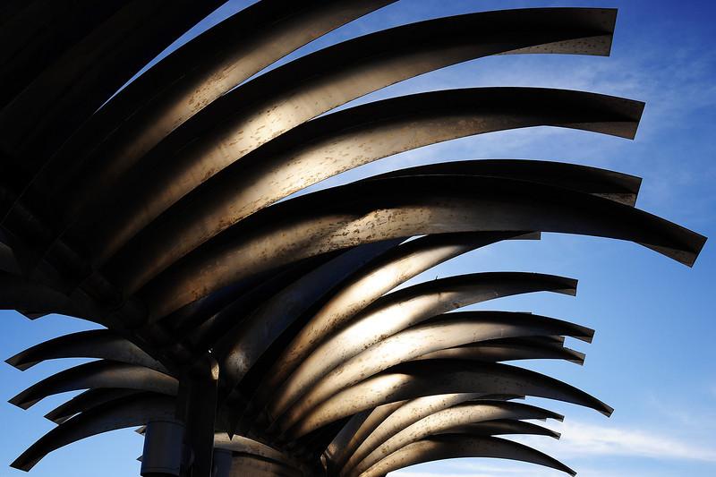 Designer sunshades on pier in Alicante, Spain