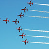 Red Arrows aerobatic team in tight formation over The Netherlands