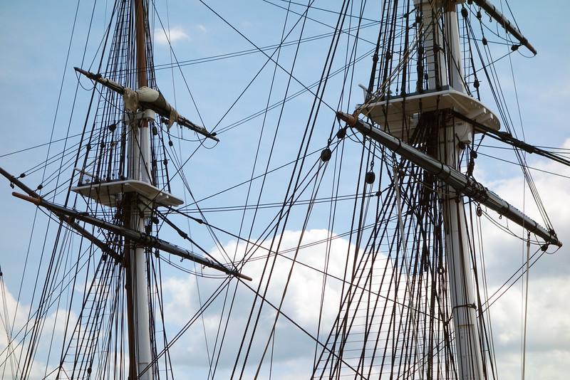 Complex rigging of the USS Constitution (anno 1797) in Boston, USA