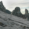 Giant granite rock face and steep pinnacles near the summit of Mount Kinabalu in Sabah, Malaysia