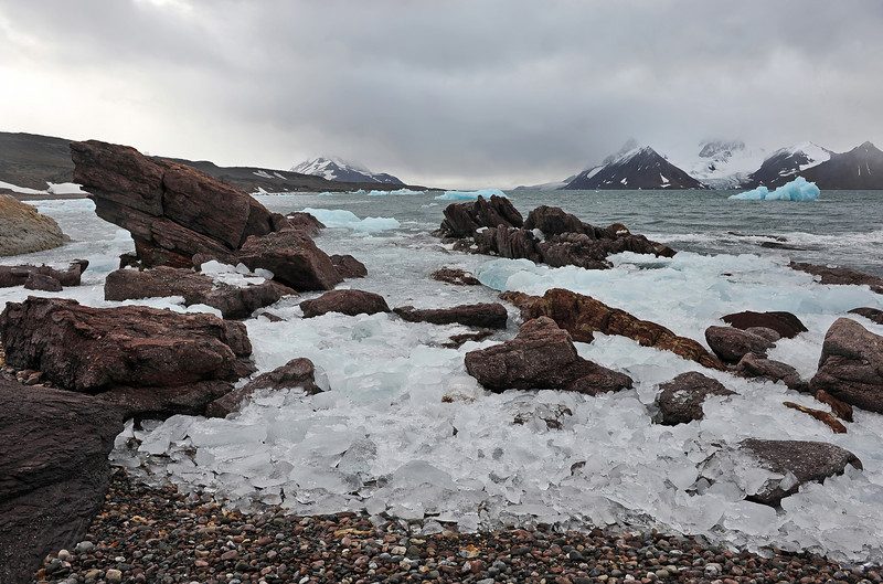 Rocks and ice at Adriabukta in the Hornsund, Svalbard