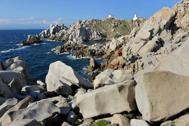 Old and new lighthouse on the granite cliffs of Capo Testa, north Sardinia, Italy