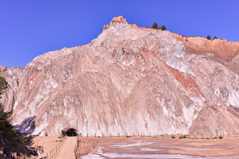 Abandoned mine in the surface salt diapir of the 'Muntanya de Sal' at Cardona in the southern Pyrenean foreland, Spain