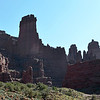 Sculpted Permian red sandstones at Fisher Towers in Utah, USA