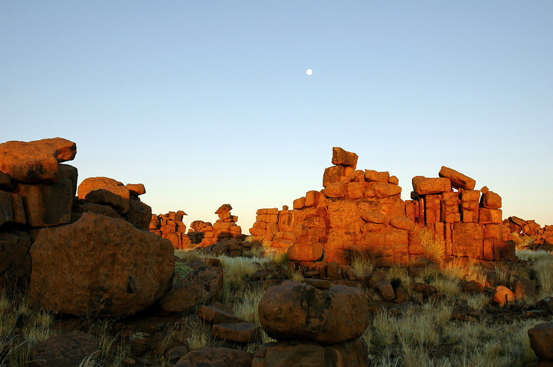 """Moon above the """"Giant's Playground"""", southern Namibia"""