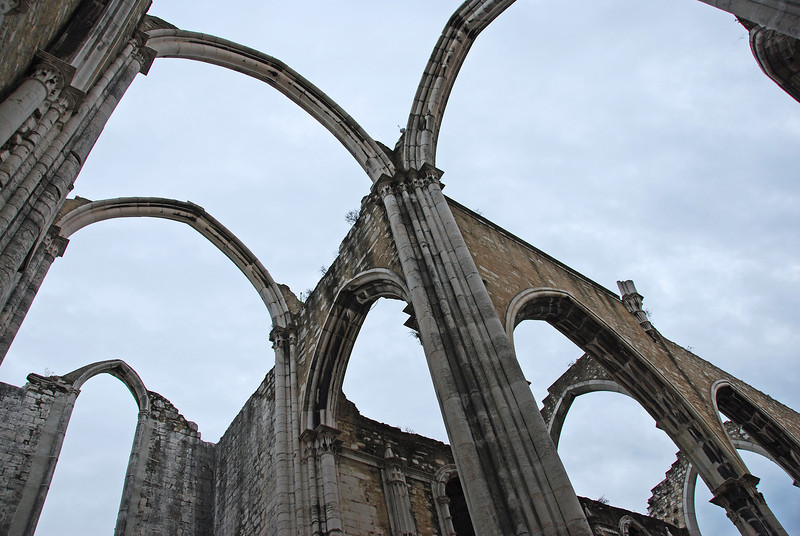 Carmo convent in Lisbon, destroyed by massive earthquake in 1755, Portugal