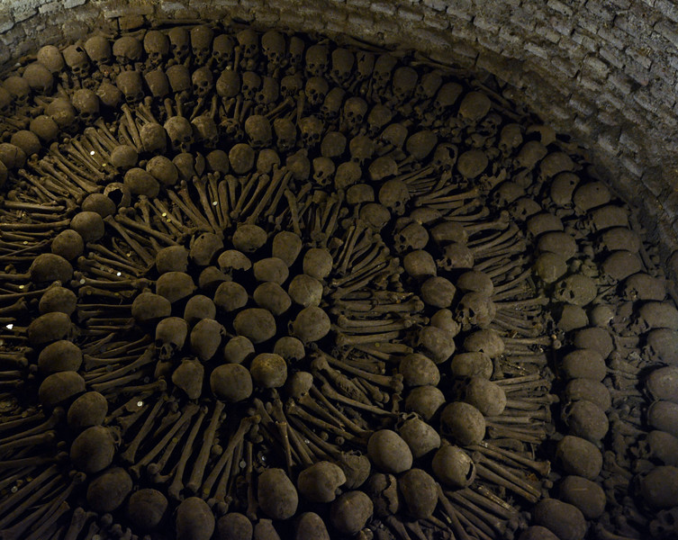 Catacombs under the San Francisco monastery in Lima, Peru