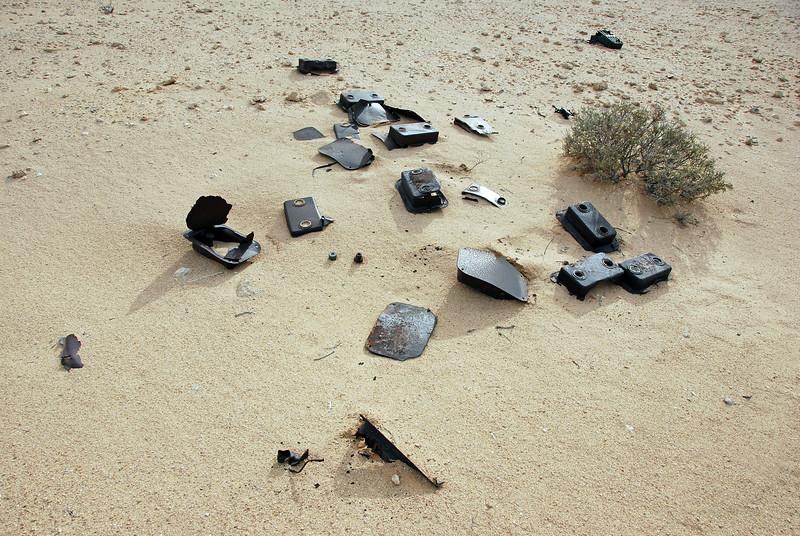 Remnants of WW II anti-tank mines in Libyan desert