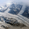 Glaciers cutting into Tertiary flood basalts of the Sortebrae ranges near Kap Ravn, east-central Greenland