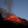 Terminal phase of lava explosion on Stromboli volcano, Italy