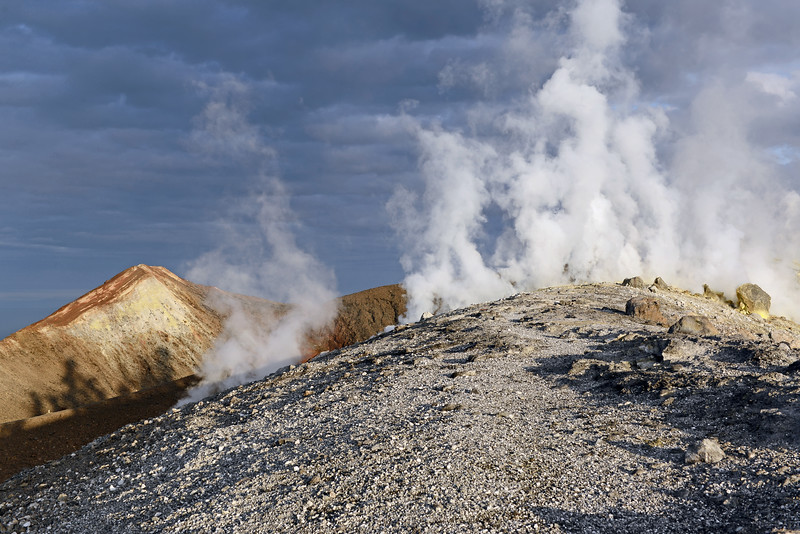Superheated steam emanating from Vulcano's crater rim, Italy