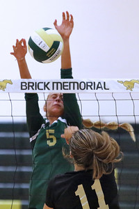 Kate Stoughton # 5 from Brick Memorial blocks the shot attempt from # 11 (lower) Rachel Pharo from Southern Regional as Brick Memorial High School hosted Southern regional High School in a girls varsity volleyball game held on Thursday September 6, 2018. (MARK R. SULLIVAN/THE OCEAN STAR)