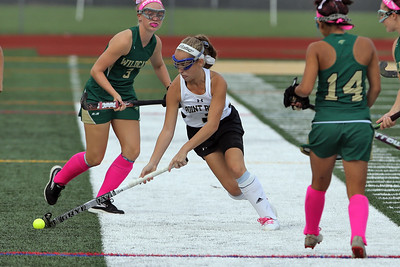 Lauren Magley (center) from Point Pleasant Borough splits the Pinelands defense as Point Pleasant Borough High School hosted Pinelands Regional High School in a girls varsity field hockey game in Point Pleasant Borough on Thursday October 4, 2018. (MARK R. SULLIVAN /THE OCEAN STAR)
