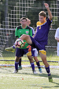 Evan Walters from St. Rose gets his foot on the ball as St. Rose High School hosted Point Pleasant Beach High School in a boys varsity soccer game held in Tinton Falls on Wednesday October 3, 2018 (MARK R. SULLIVAN /THE COAST STAR)