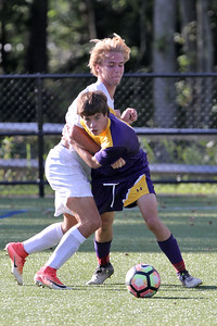 Matt Deluca (right) battles with Point Pleasant Beach's  Alex Atno as St. Rose High School hosted Point Pleasant Beach High School in a boys varsity soccer game held in Tinton Falls on Wednesday October 3, 2018 (MARK R. SULLIVAN /THE COAST STAR)