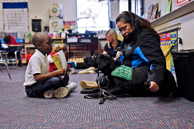 Jhiovanny Francois shows therapy dog Viking the pictures in a book during a visit to the 1st grade at All Saints Catholic School Jan. 9.