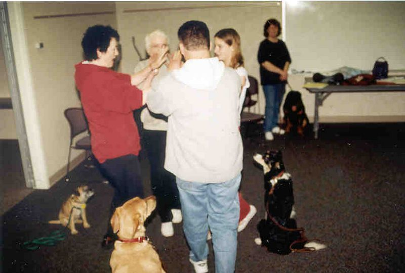 Pals On Paws meeting night, square dance practice.