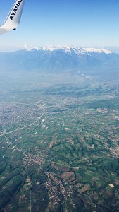 Plane view of Mt. Olympus and surrounding Thessaloniki