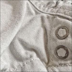 White denim + brass fasteners