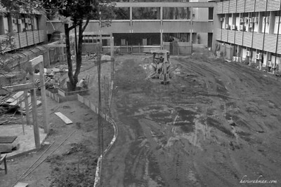 Construction at work  Attended a meeting at the Faculty and on the way back I realised that the major work around the campus are in full swing. This used to be the green zone en route to Dewan Jemerlang.