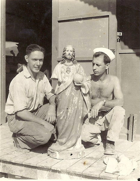 The man on the left is Herb, who helped Pete's dad restore this statue.  Manny Rosa, on the right received national press for restoring religious statues while on Saipan during his spare time.  This is the last statue prior to be restored.