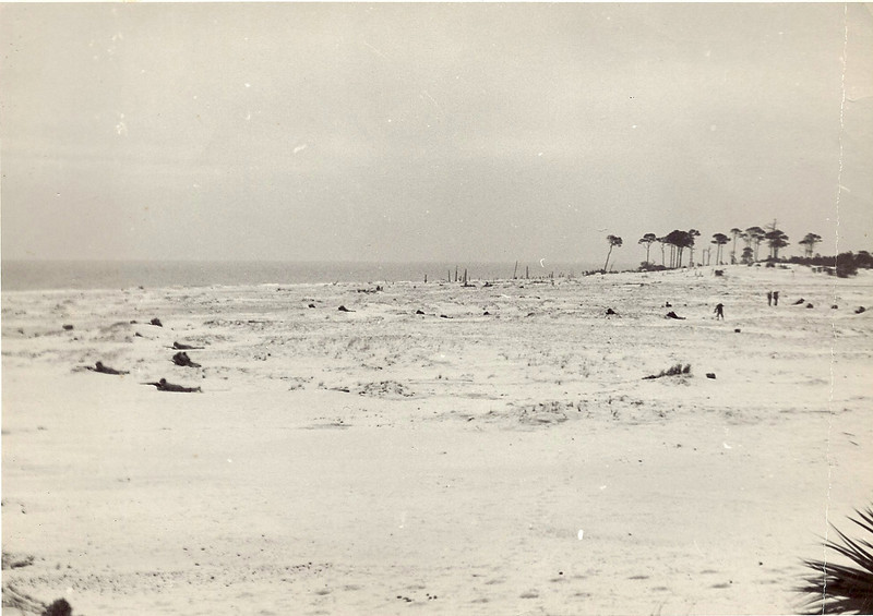 Invasion of Cat Island practice.  You can see the men prone in the sand.  Cat Island Jan. 1944