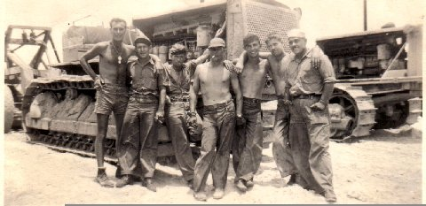 Edward A. Stauffer MM2 (right side of picture), 109th Battalion (Seabees), Roi Island - 1944.  Attached to the 4th Marine Division.<br /> Purple Heart - February 12th, 1944