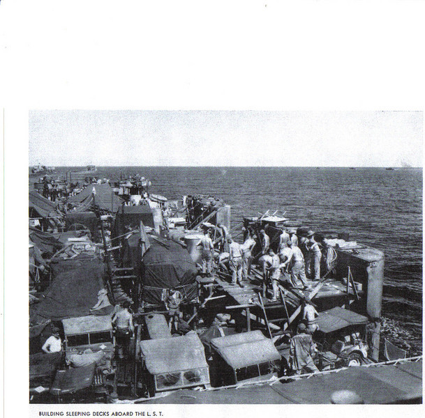 The 73rd Seabees on LST at Peleliu - 1944.