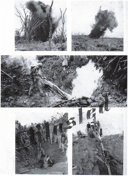 """""""Seabees"""" (62ND NCB) Not Marines Clearing Out Caves on Iwo Jima"""