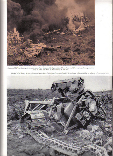 Top:  B-29 crash-landed near 95th area on Iwo.  Crew parachuted to safey.<br /> <br /> Bottom:  D-8 Dozer wrecked when Francisco (Pancho) Jaramillo hit a buried land mine <br />               on April 25th.