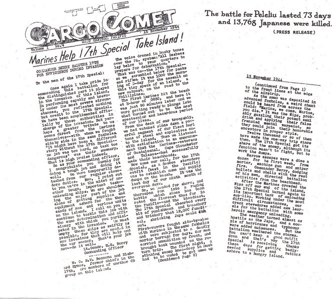The Cargo Comet.  The 17th Special recognized for their effort in taking Peleliu - 1944.