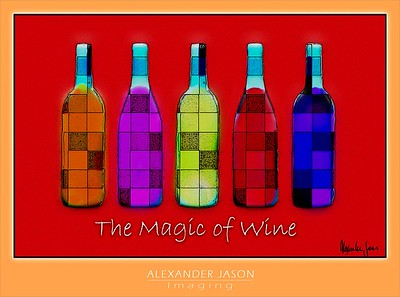 "The Magic of Wine -- This is available printed on canvas, mounted on a wood frame with a 1.5"" gallery wrap-around with just the red area; 16""x20"". This is a limited edition of only 50, singed and numbered. $800, including FEDEX shipping. Contact me: aj@alexjason.com"
