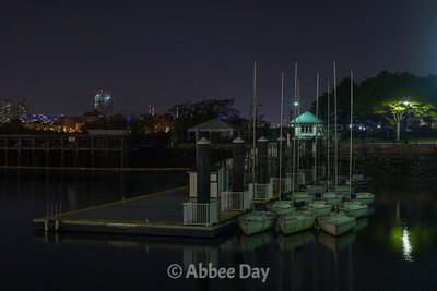Boston Harbor at night