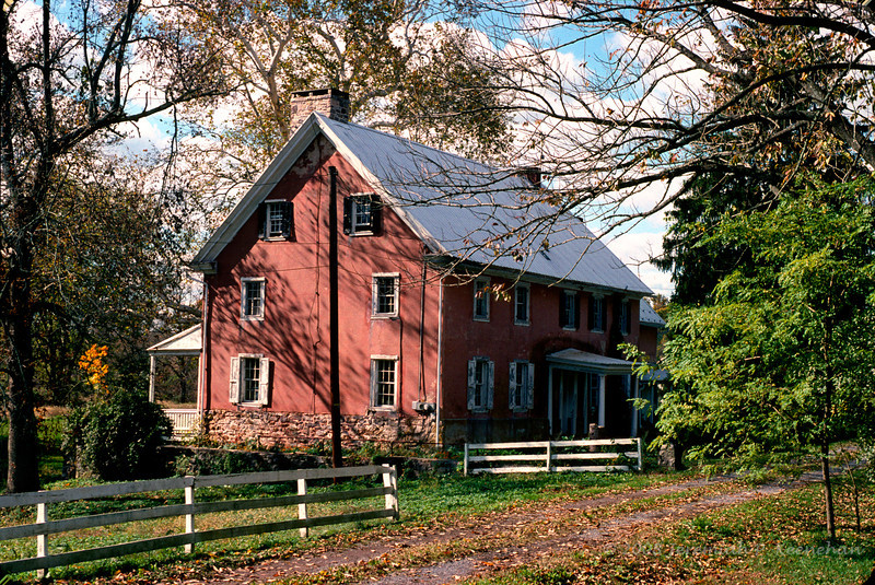 Red Farmhouse Near Covered Bridge Road