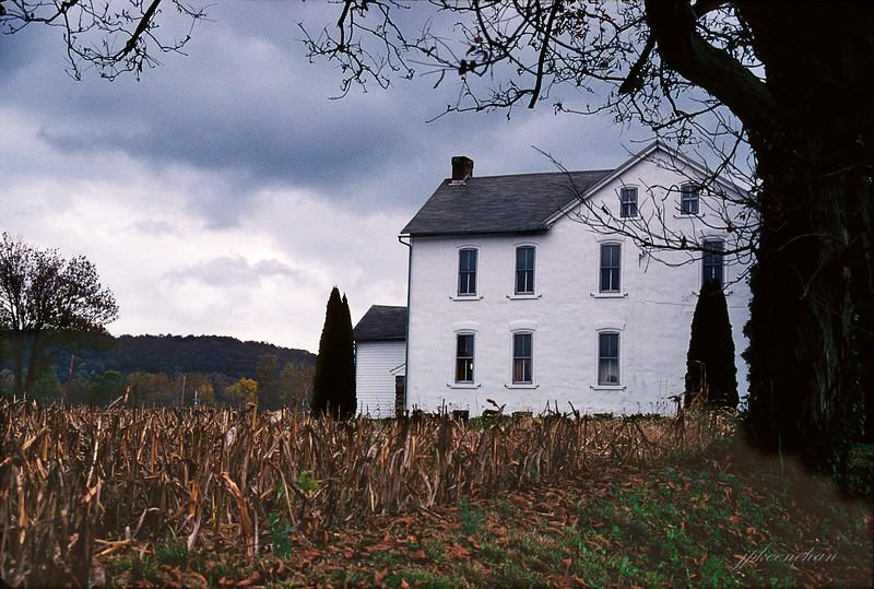 White Farmhouse Near Pleasantville in Berks County, Pennsylvania