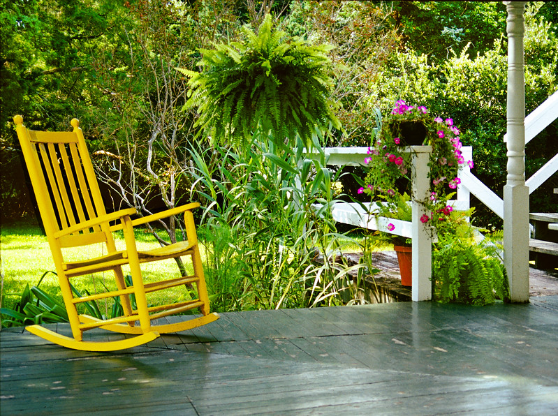 The Yellow Rocker at the Crews Inn on Ocracoke Island