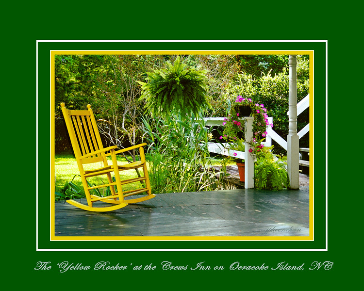 The Yellow Rocker at the Crews Inn on Ocracoke Island, NC