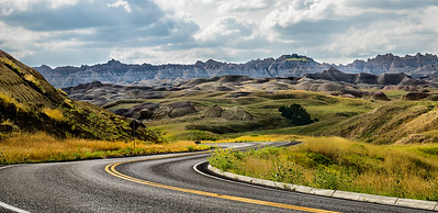 a road in the badlands