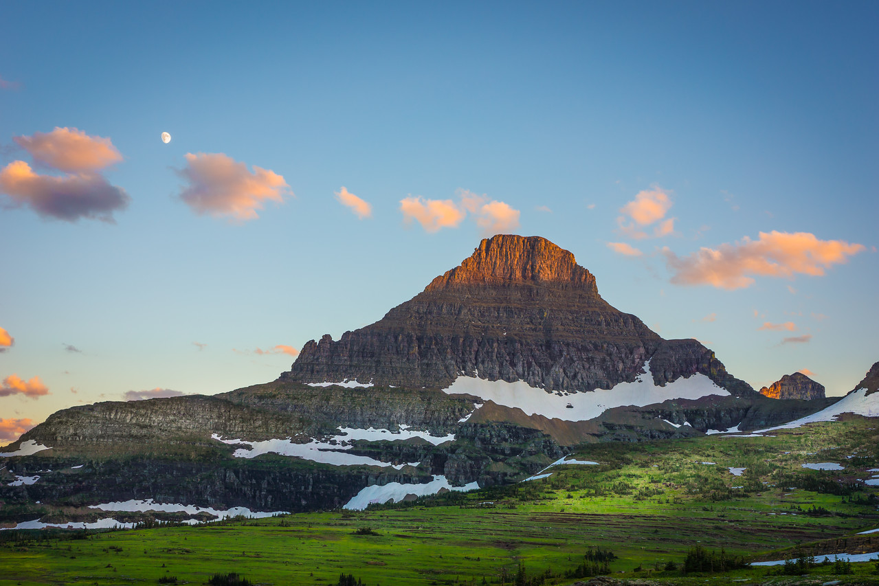 moon, mountain, alpenglow