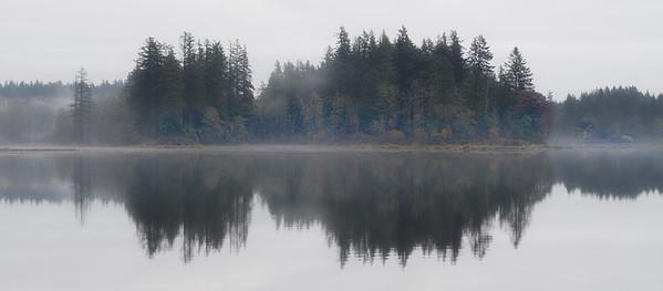 fog, reflections, lacamas lake